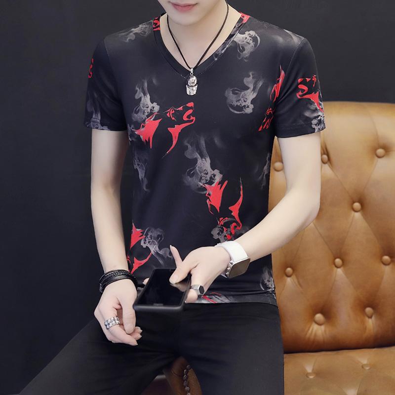 夏季韩版潮流男士有带领短袖T恤半袖修身体恤翻领青年男装衣服潮t_领取20元淘宝优惠券