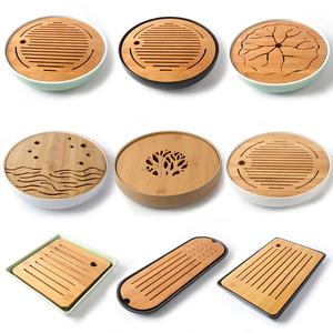 Khay trà gốm Nhật Bản hộ gia đình khay tre Kung Fu trà đặt vòng đơn giản rắn gỗ bong bóng khô bàn trà nhỏ