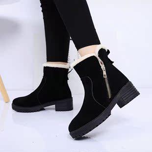 保暖短靴绒面女雪地靴拉链女马丁靴