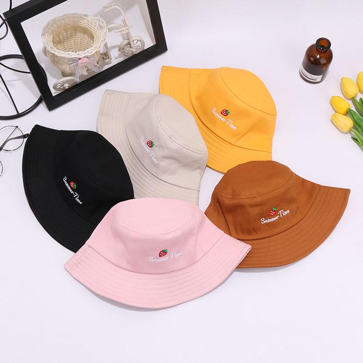 帽子日系文艺百搭盆帽可爱软妹女学生韩版草莓刺绣夏天遮阳渔夫帽