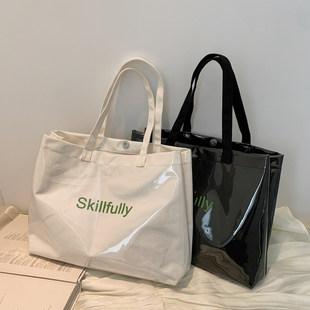 Холст плечо на ветру корейский японский прозрачный PVC водонепроницаемый большой потенциал студент верх учебный класс простой приток ученый пакет сумка