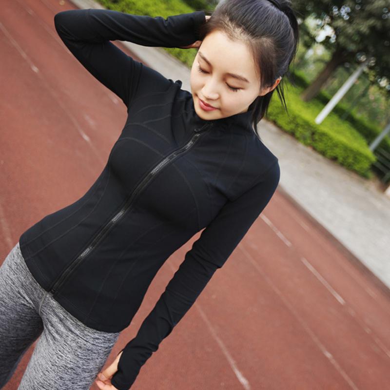 春秋休闲速干运动外套女上衣长袖拉链性感紧身瑜伽服立领健身开衫