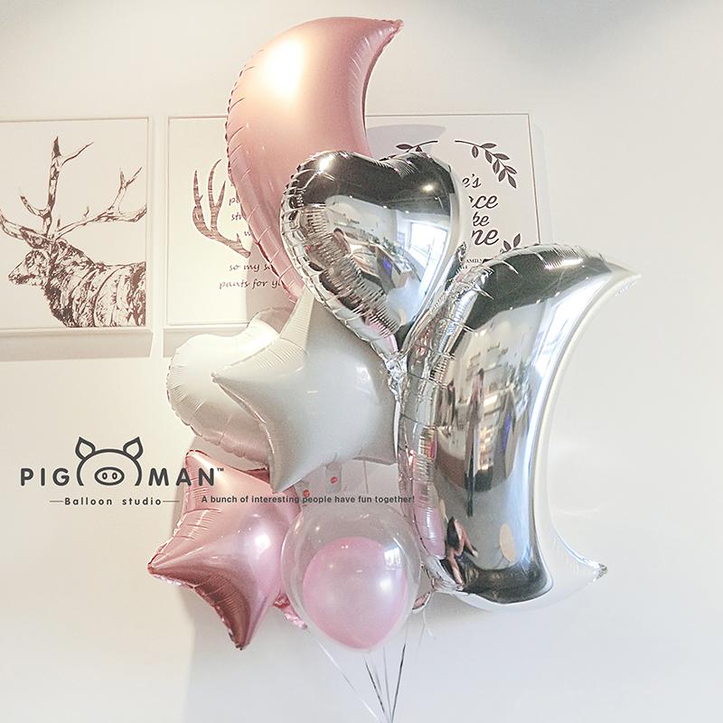 网红月亮婚庆气球束粉色少女心拍照道具氦气漂空气球套餐包邮