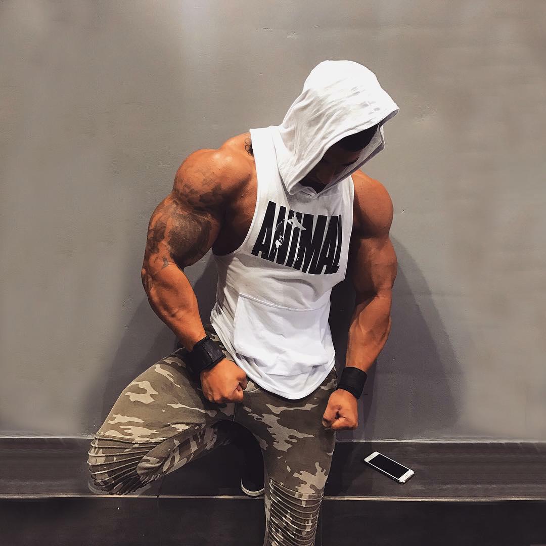 Cơ bắp Brothers Nam Fitness Đào Tạo Tops Chạy Mùa Hè Không Tay Vest Mỏng Lớn Mở Tay Áo Trùm Đầu Vest