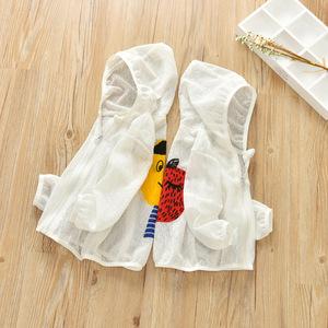Trẻ em của quần áo chống nắng boy mỏng thoáng khí quần áo da cô gái trùm đầu phim hoạt hình mô hình áo khoác mùa hè bãi biển dây kéo áo sơ mi