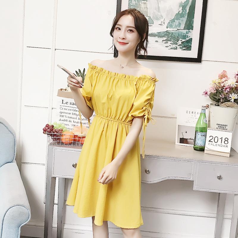 Mùa hè mới Hàn Quốc ngọt ngào từ cổ áo quây đầm nữ đèn lồng tay áo bow tie khí một từ váy