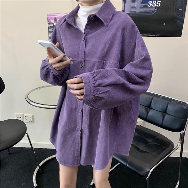 Весна чистый подбоем женская одежда 2020 новый корейский дикий свободный длина длинный рукав вельвет рубашка пальто волна