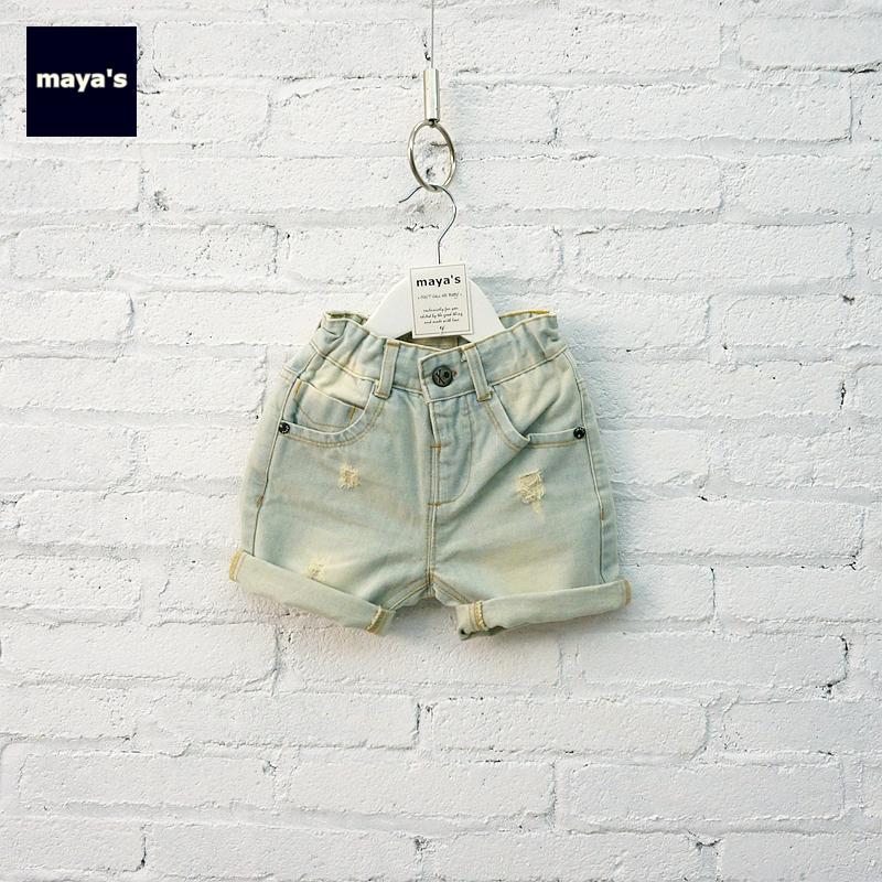 Mayas trai mùa xuân hè ăn mặc-chàng trai denim quần-rửa ánh sáng màu xanh jeans lớn và vừa trẻ em của quần A15040