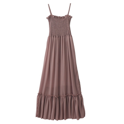 Váy liền/dây/Váy nữ, viền bèo xinh xắn, vải voan, dáng dài, cạp cao, màu trắng, kiểu dáng cổ điển