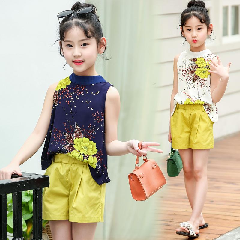 夏季新款女童套装时髦夏装短袖短裤两件套