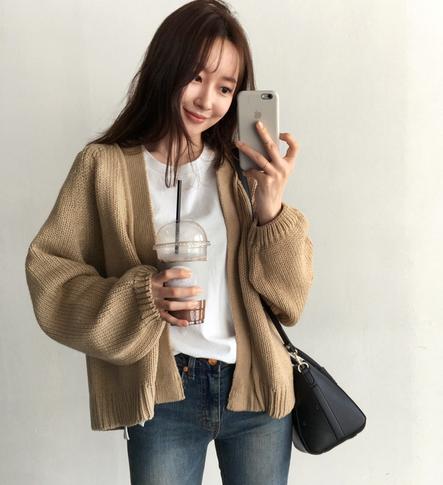 秋冬季韩版chic学生慵懒风棉线宽松毛衣外搭外套女百搭针织衫开衫
