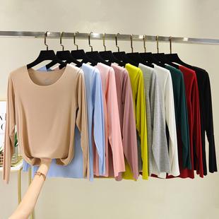 Дугуй хүзүүтэй урт ханцуйтай цамц, эмэгтэй загварлаг, нарийн, нарийн ёроолтой цамц хавар, намрын хэмжээ, бүх хэмжээтэй хатуу, дээд намрын нимгэн хувцас