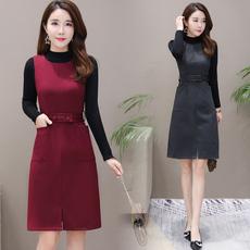 实拍2018秋冬套装裙两件套新款打底长袖气质有女人味的连衣裙子