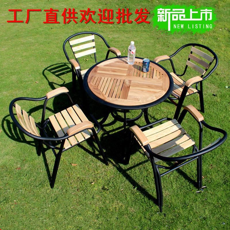 Ngoài trời rắn đồ gỗ nội thất ban công ngoài trời bảng thanh và ghế kết hợp sân mở không khí giản dị bàn cà phê và ghế bộ