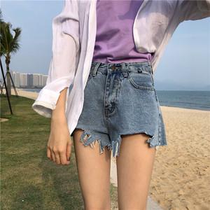 實拍實價 夏季新款學生韓版寬松高腰毛邊不規則牛仔短褲女潮熱褲