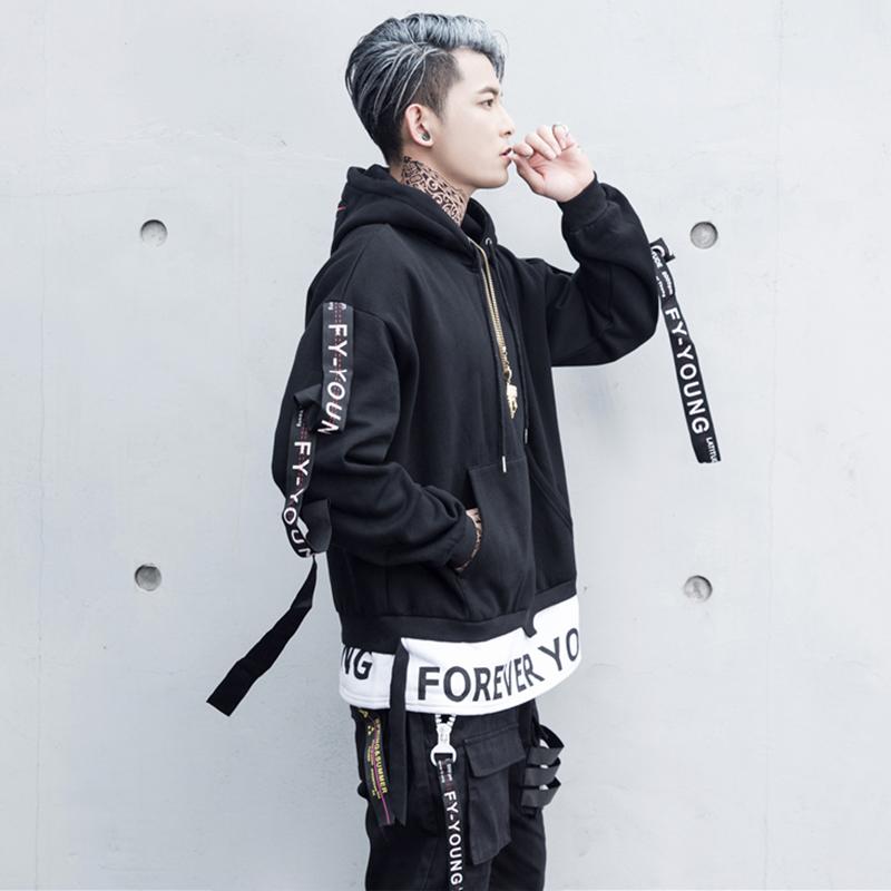 Hip hop áo len nam đội mũ trùm đầu cộng với nhung streamers thời trang đường phố quần áo lỏng kích thước lớn của nam giới Châu Âu và Mỹ áo khoác hiphop
