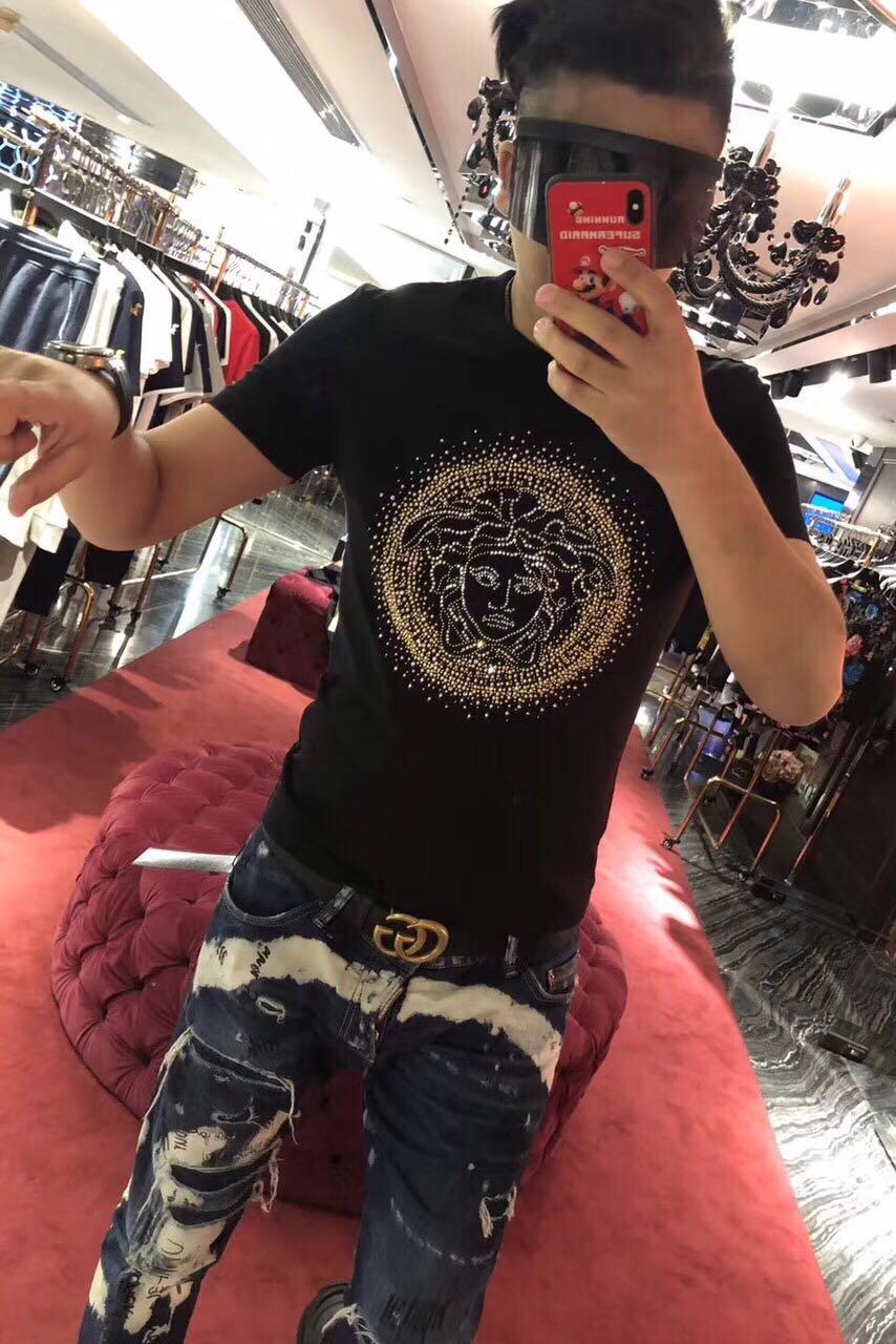 Vaasa nam giới và phụ nữ làm bóng bông thêu kim cương nóng sequins vẻ đẹp Mỏng Dusha đầu chất béo kích thước lớn T-Shirt ngắn tay áo triều