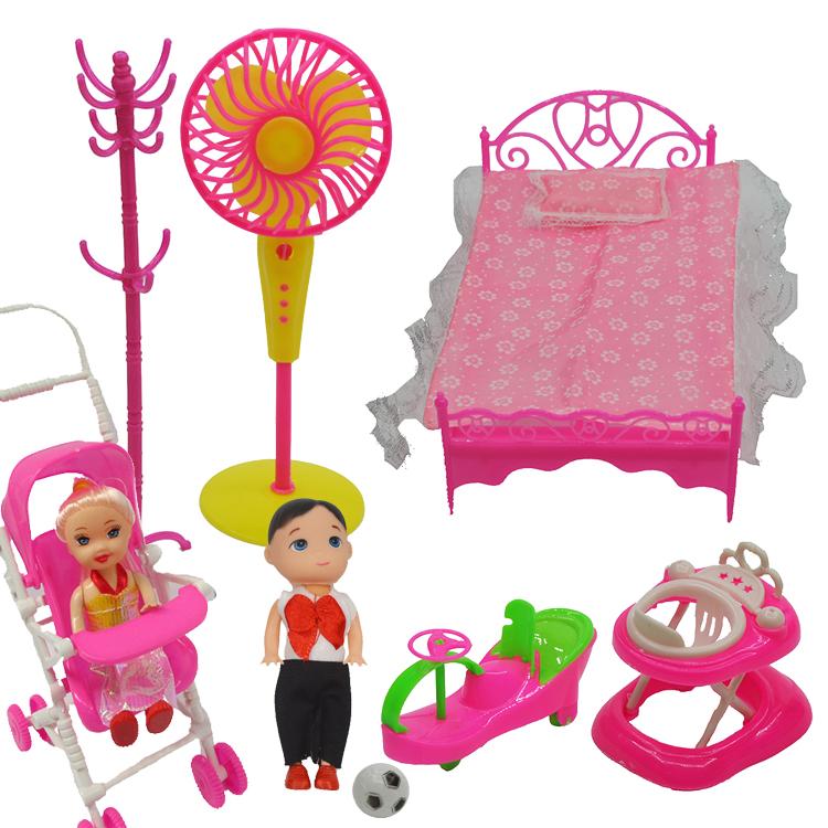 Barbie giường búp bê Công chúa giường 1 đến 10 nhân dân tệ đôi giường Barbie đồ nội thất đặt đồ chơi phụ kiện Daquan