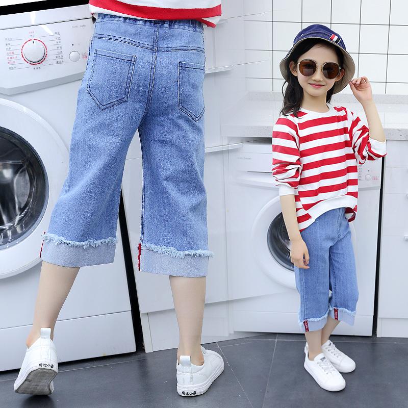 Cô gái cắt quần mùa hè phần mỏng 7-15 tuổi 12 trẻ em lớn của quần âu quần âu lỏng trẻ em jeans chân rộng