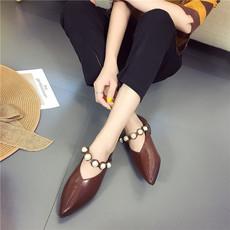 2017秋冬新款韩版V口粗跟低跟尖头珍珠带单鞋女时尚休闲百搭单鞋