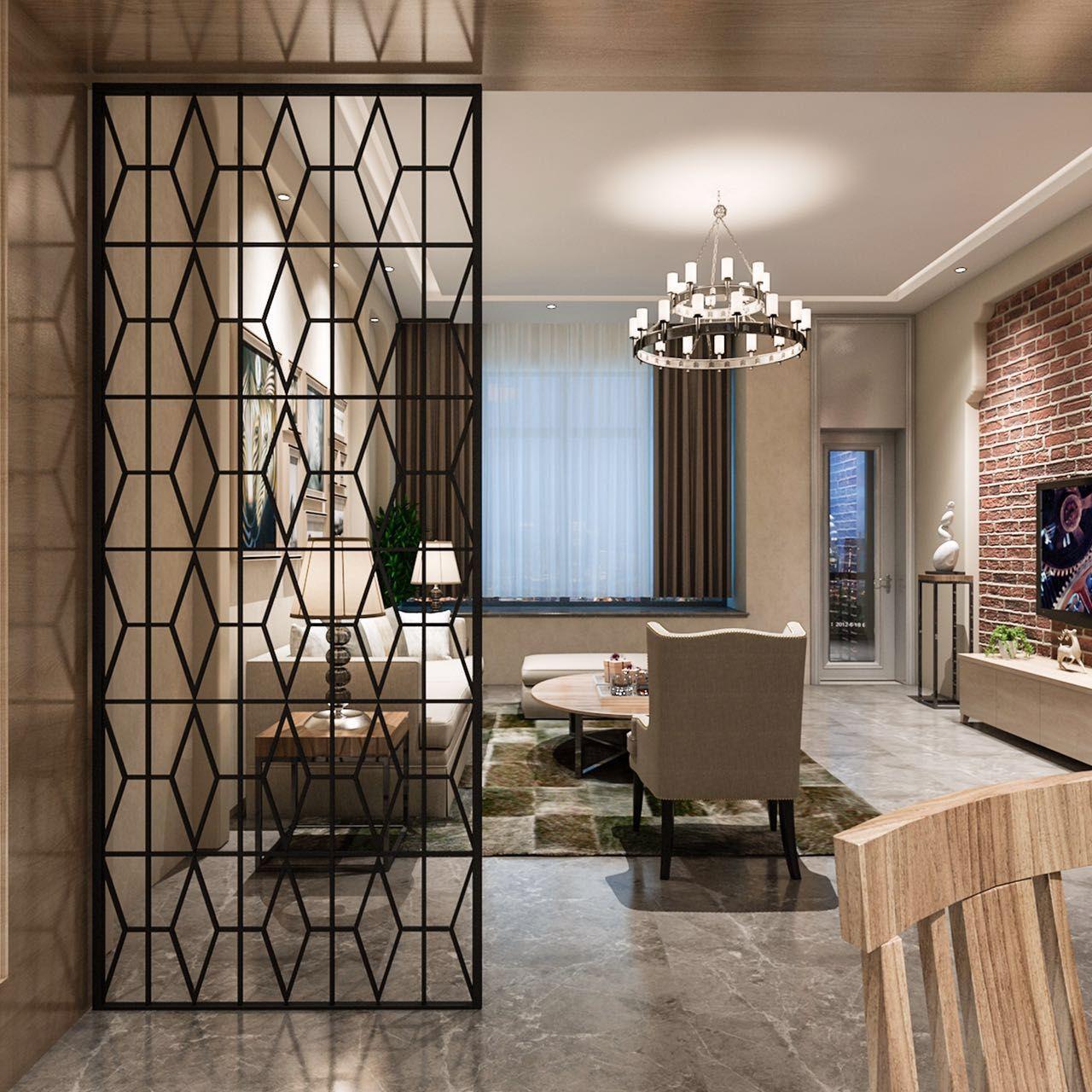 Mỹ rèn sắt màn hình phòng khách kim cương mạng lưới thời trang sáng tạo cửa sổ đơn giản rỗng ra giày hiên phân vùng