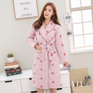 冬季女士三层加厚棉袄夹棉加长款睡袍家居服