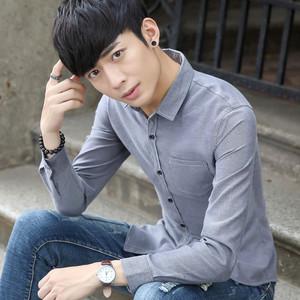 男士牛津紡純色時尚休閑韓版修身款長袖襯衫青少年男式襯衣服891