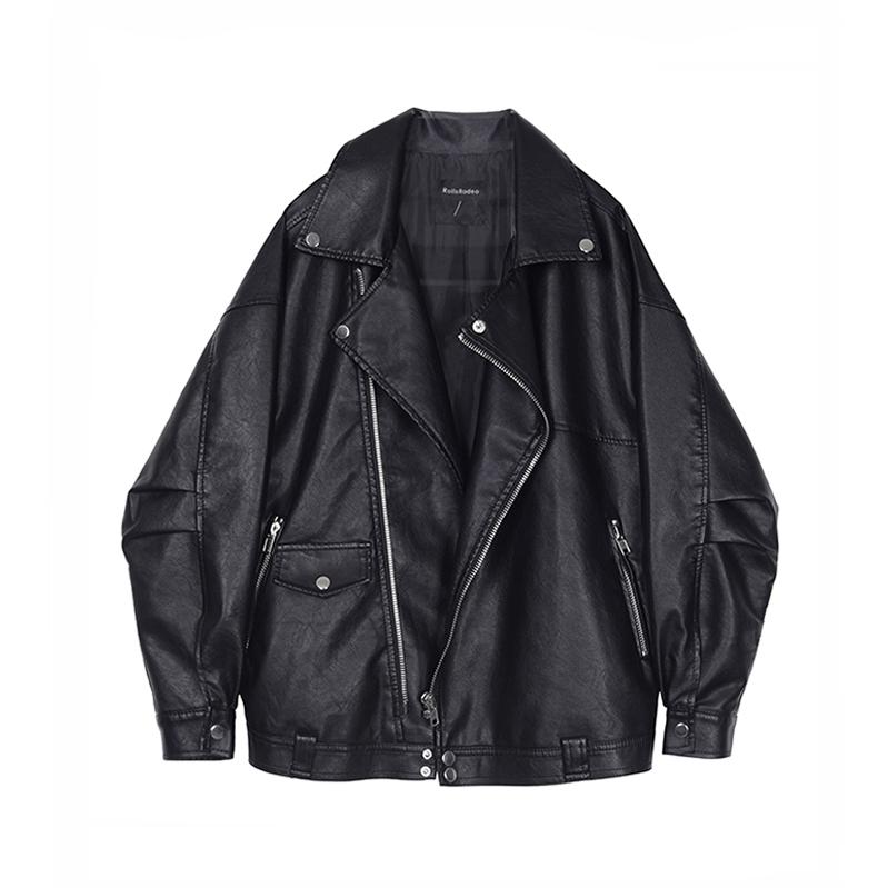 VEGA CHANG da xe gắn máy quần áo nữ 2018 đầu mùa thu mới của Hàn Quốc áo khoác ngắn đa năng lỏng áo khoác màu đen