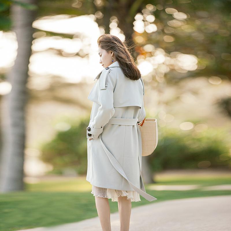 13良品宽松百搭气质淑女矮个子风衣外套女中长款韩版春季2018新款