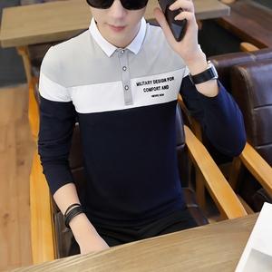 新款秋冬男装长袖T恤衫休闲青年长袖翻领T恤9502#