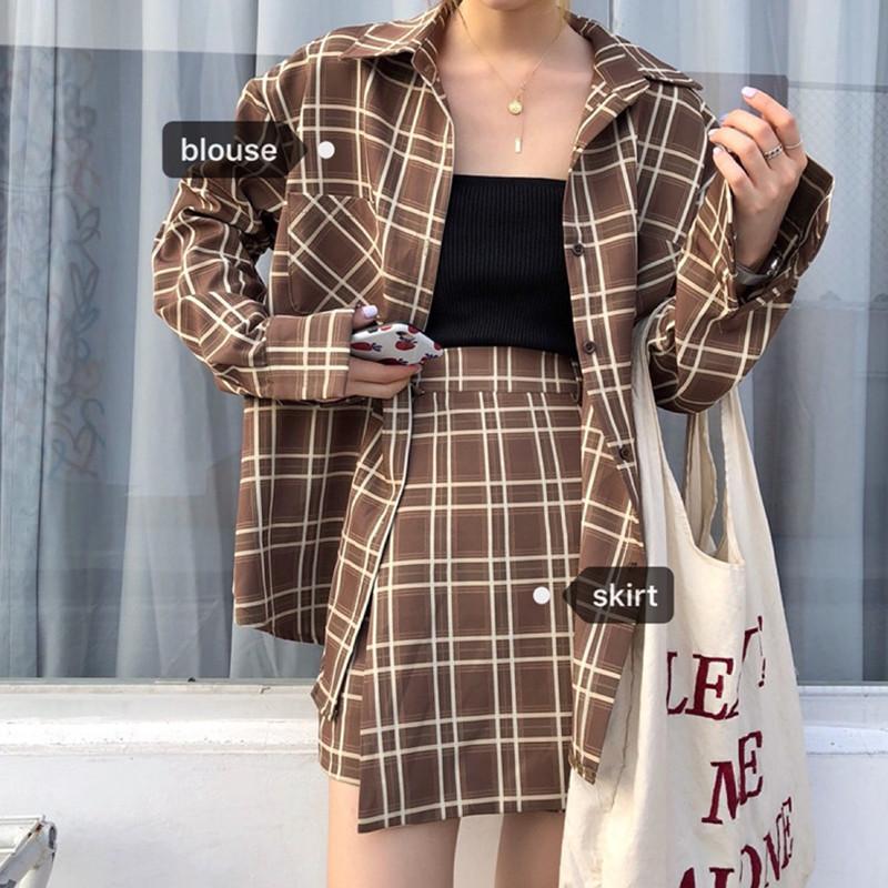 Ghost Horse Girl Set ~ Hàn Quốc chic retro cao đẳng phong cách áo sơ mi áo khoác + hoang dã cao eo nửa váy