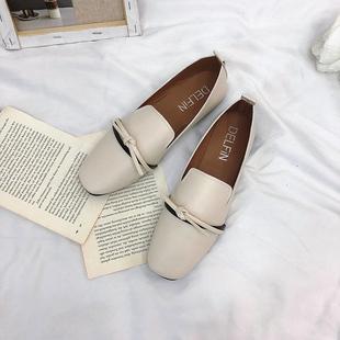 新款一脚蹬平底单鞋网红乐福鞋
