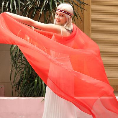 网红薄款红色丝巾百搭春秋围巾抖音长款百搭中国红纱巾女轻薄沙漠
