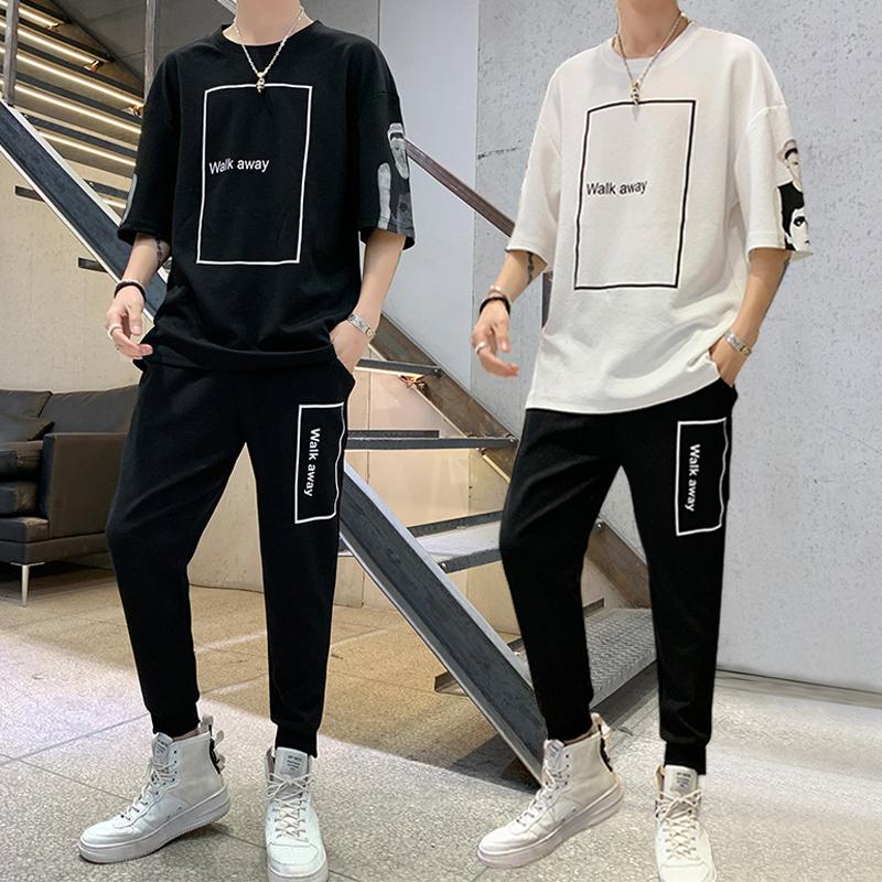 2019夏季男士短袖套装韩版宽松个性运动七分袖短裤休闲两件套男11-26新券