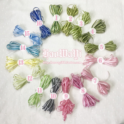 taobao agent 3-4mm wide and fine rainbow gradient yarn-dyed satin ribbon ribbon diy hair band headgear baby clothes accessories bookmark band 2 yuan 6 meters