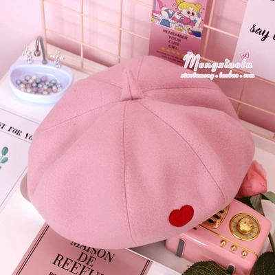 42agent Girl heart beret autumn and winter England Korean version of the newspaper hat Japanese 蓓 帽 hat wild painter hat soft sister pumpkin hat - Taobao