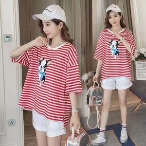 Phụ nữ mang thai mùa hè phù hợp với mô hình thời trang 2018 new casual loose T-Shirt quần short hai mảnh phụ nữ mang thai ngắn tay t-shirt mùa hè