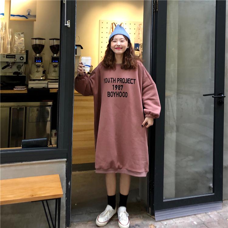 实拍实价~韩版慵懒字母印花加绒中长款卫衣~已检测 1022#