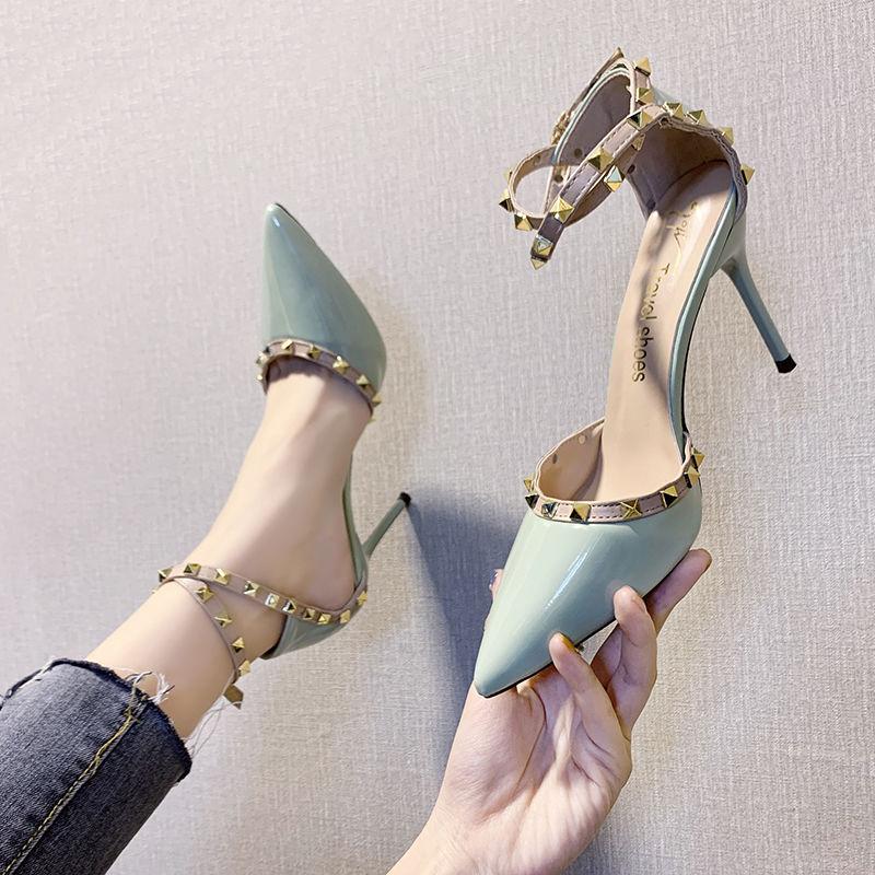 高跟性感凉鞋女细跟铆钉尖头仙女风百搭单鞋