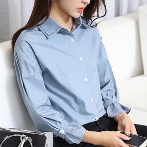 模特实拍 2633# 2018春装新款灯绒袖衬衫