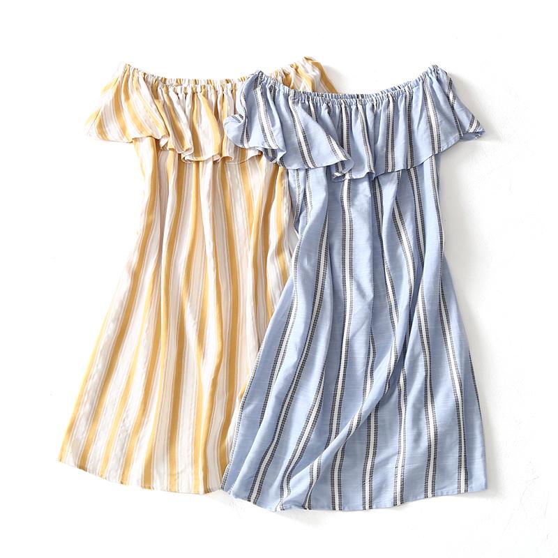 Ai mặc nó có vẻ tốt! 18 mùa hè sản phẩm mới tươi và mỏng một từ cổ áo sọc đầm 8523-3