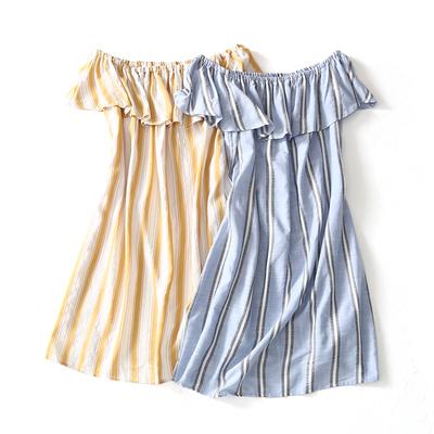 Ai mặc nó có vẻ tốt! 18 mùa hè sản phẩm mới tươi và mỏng một từ cổ áo sọc đầm 8523-3 Sản phẩm HOT