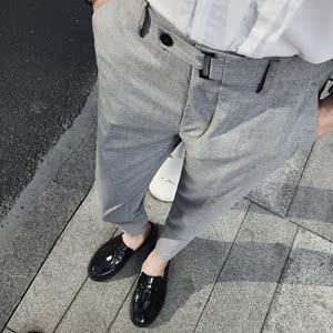 夏季新款英伦潮男夜店发型师修身九分休闲裤西裤GK168P75控90