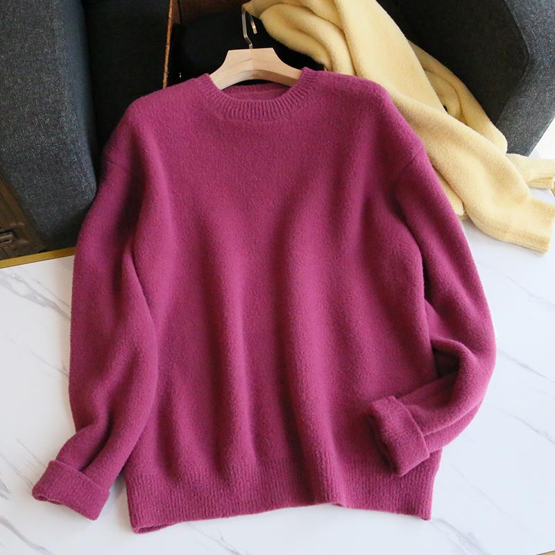 云朵般↑柔软~太舒服了!紫色毛衣女宽松套�头慵懒风外穿秋冬加厚潮