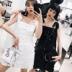 Deessesicile5 29 bữa tiệc thời trang mới 趴 màu đen và trắng lớn vòng sequins đầm ren