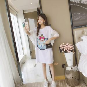 实拍7451#夏新款韩版喇叭袖亮片猫咪T恤女宽松失踪体恤裙中长款