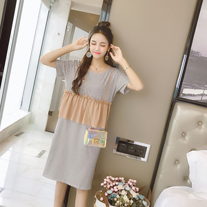 实拍7485#夏季新款撞色拼接条纹连衣裙女假两件中长款显瘦T恤裙