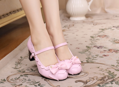 taobao agent Original Lolita lace medium thick heel round toe bow student foundation cute sweet small leather shoes