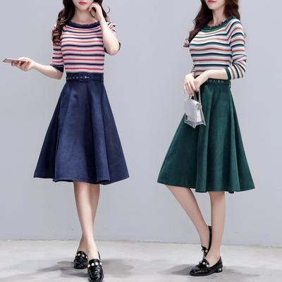 2018韩版显瘦百搭条纹上衣时尚套装女半身裙两件套6886#(实拍)
