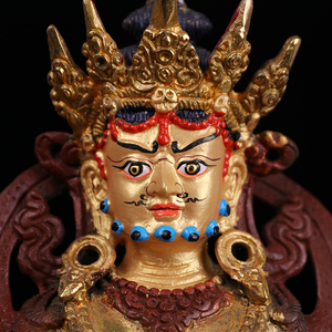 Tây tạng bí mật tôn giáo Phật cung cấp giả Nepal bán vàng tinh khiết đồng tượng Phật trong lô của màu vàng Fortuna 7 inch C